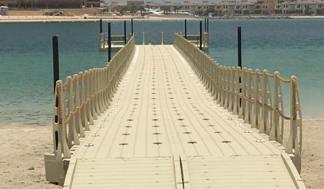 long dock on a dubai beach