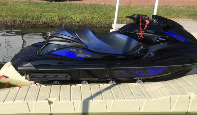 side shot of a jet ski on a jetport plus