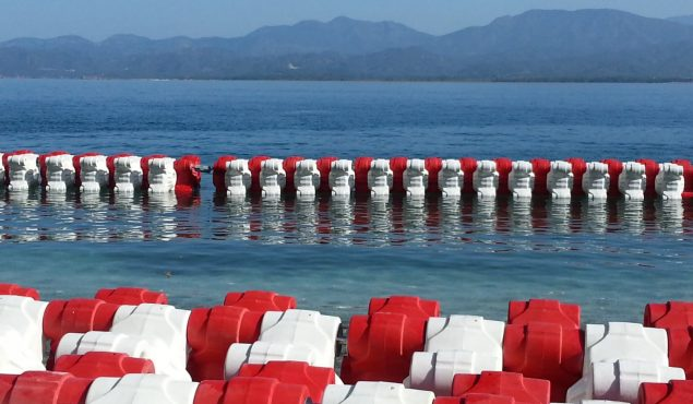 rows of wave breakers