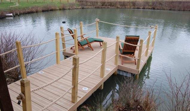 decked pontoon for private client with handrails, lights and moorings.