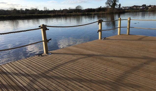 Decked pontoon with handrails in Chester