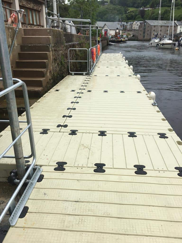 Rotodock with handrails and piling at Totnes Boating Association