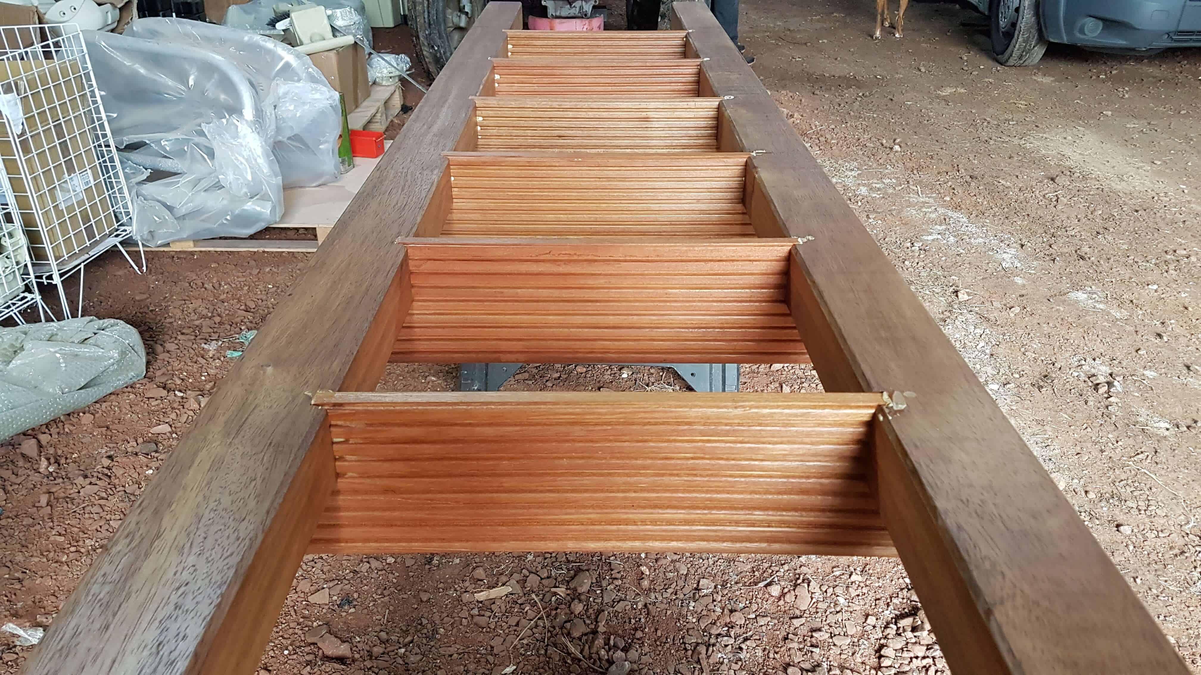bespoke wooden ladder for rotodock decked pontoon