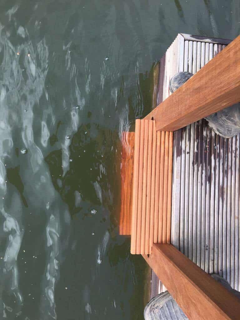 bespoke wooden ladder for decked rotodock pontoon