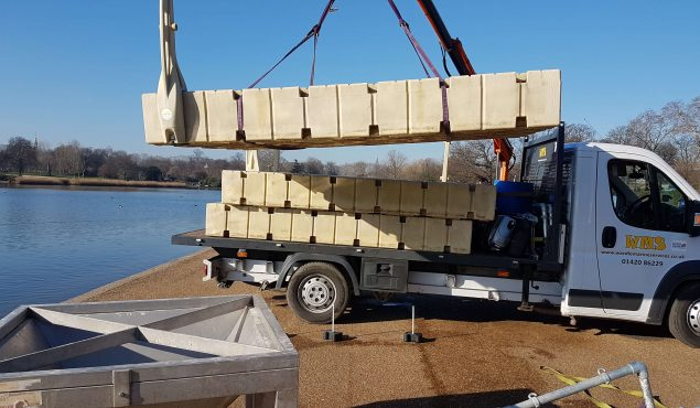 Rotodock sections on the move to create a working platform for an engineering team working on the Serpentine