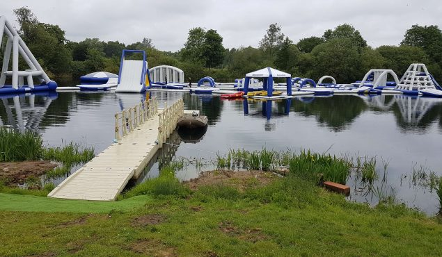 12m x 2m Rotodock pontoon with 6m x 2m hammerhead, handrails, cleats and gangway for Lincoln Water Park.