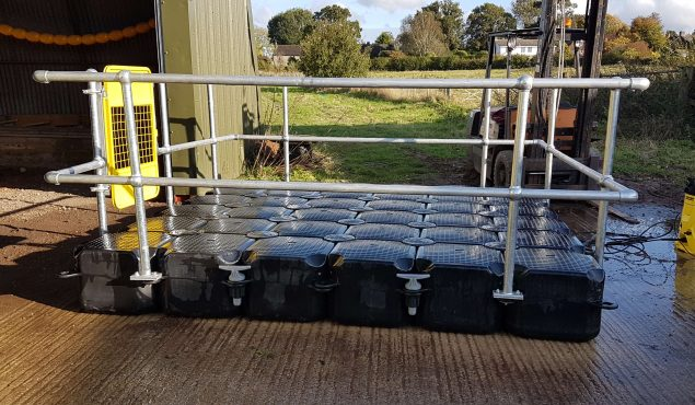 3m x 2m modular cube pontoon with metal handrails