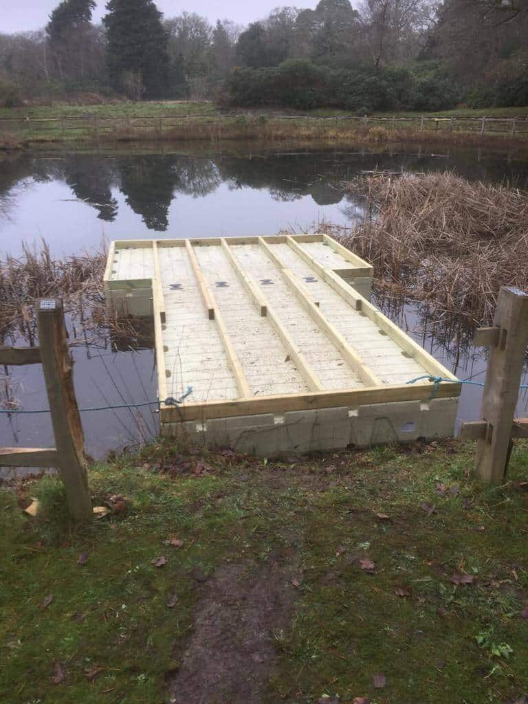 Decking framework on rotodock hammerhead pontoon, exbury gardens