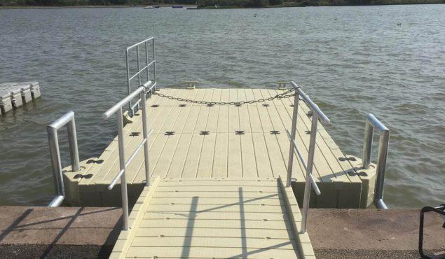 A 6m x3m Rotodock pontoon with handrails, gangway and moorings for RYA Cymru in Rhyl.