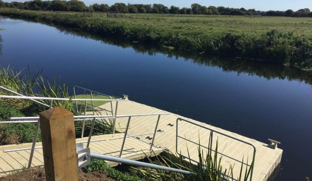 One of four 6m x 3m Rotodock pontoons with 4m gangway on the River Parrett in Langport, Somerset.