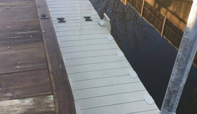A staggered 9m x 1m Rotodock pontoon with 3m gangway for a private customer in Beccles.