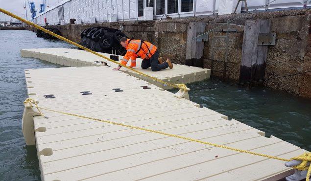 Rotodock pontoon building at Ocean Business 2019