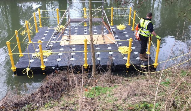 Modular cube pontoon with handrails for bridge repair