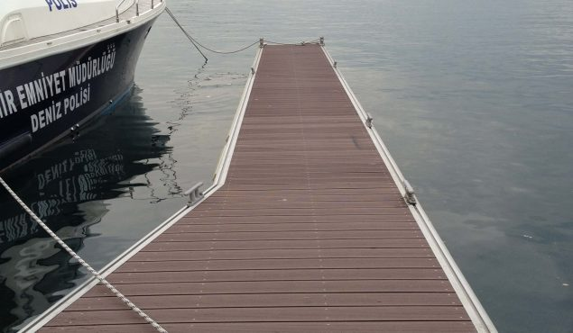 Marine Dock pontoon finger with cleats. Made with aluminium frame and composite wooden decking
