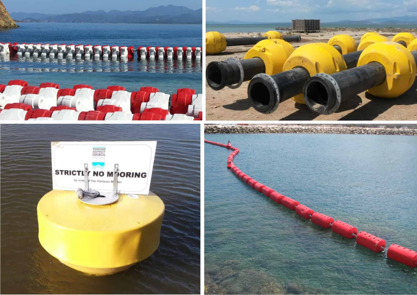 Wave Break, Pipe Floats, Mooring Buoys and Security Barrier