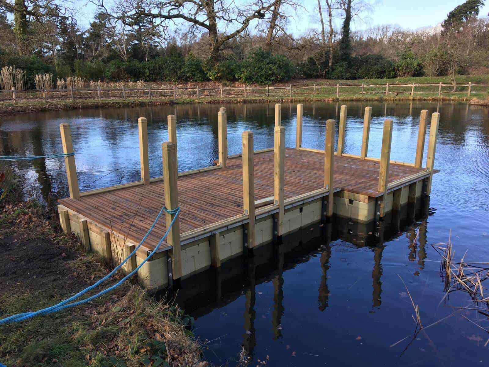 Exbury Gardens Rotodock decked pontoons with handrails