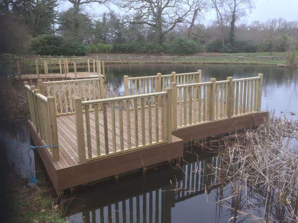 Decked Rotodock pontoon with bespoke spindle handrails