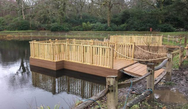 exbury decked pontoons with spindle handrails