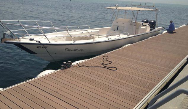marine dock pontoon with yacht