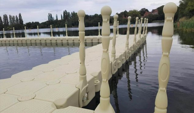 Modular cube pontoon swimming pool with handrails, Doncaster