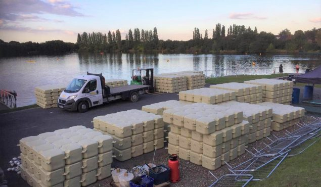 Modular cube pontoon swimming pool with handrails, moorings, netting and gangway, Doncaster