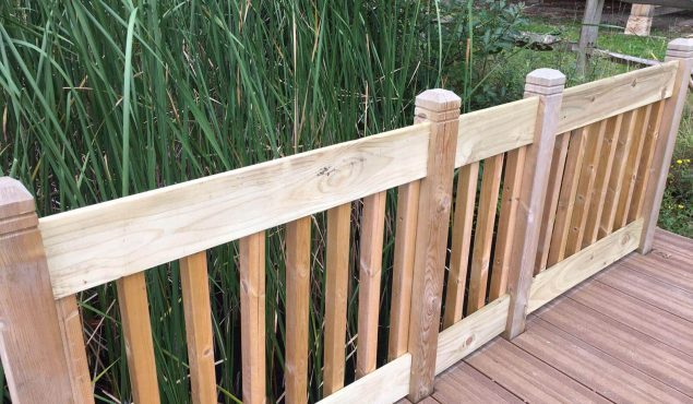 Handrails on decked pontoon