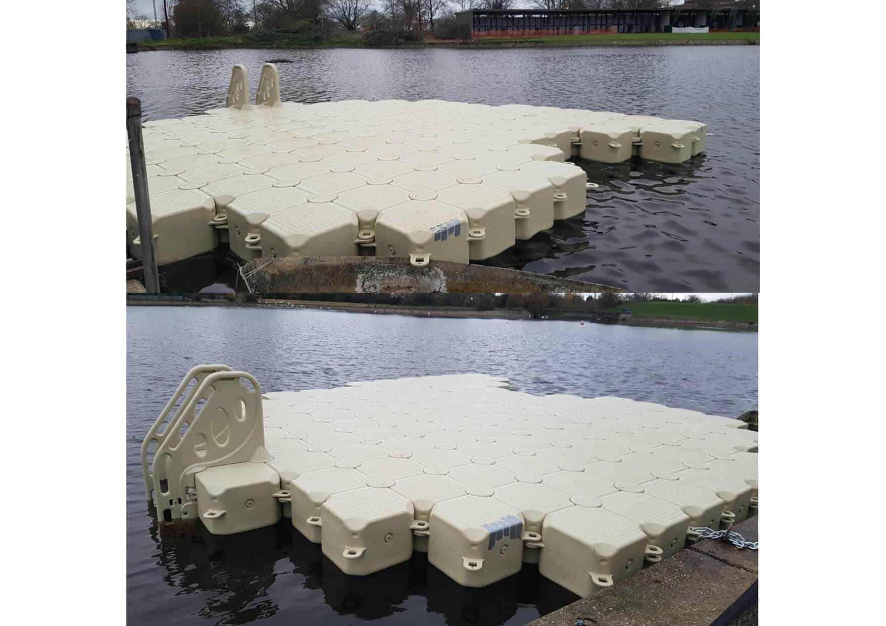 bean shaped modular cubes with ladder for golf club island