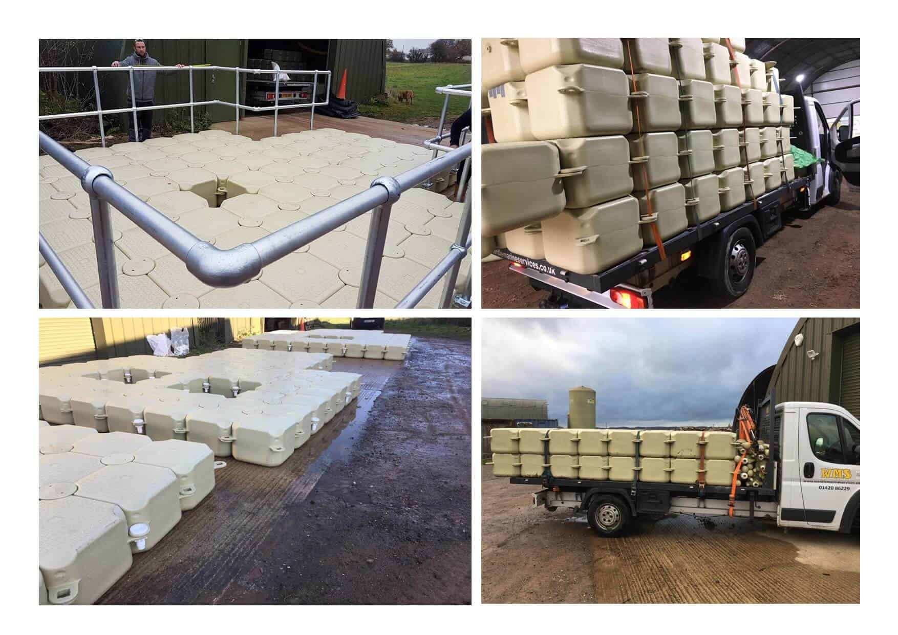 modular cubes with aluminium handrails and moon pools. trucks ready for deliveries