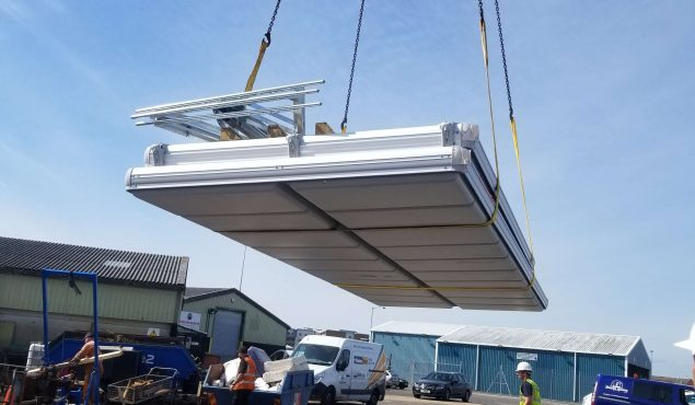 Easyfloat pontoon craned into position