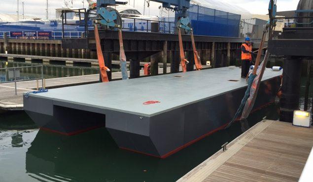 Fibreglass base with catamaran hulls
