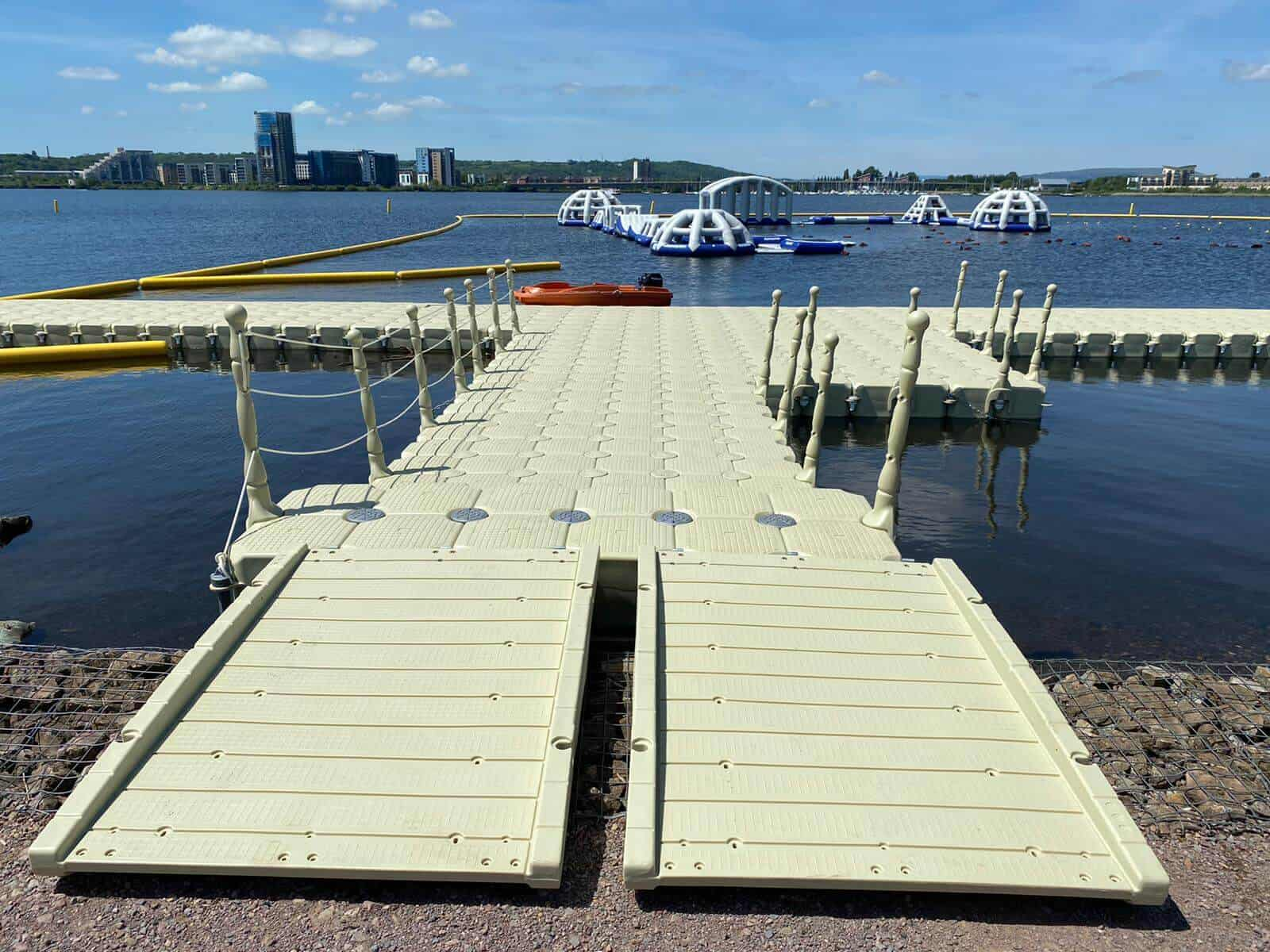 Modular cube pontoon with gangway, handrails and cleats Aquaparks, Cardiff