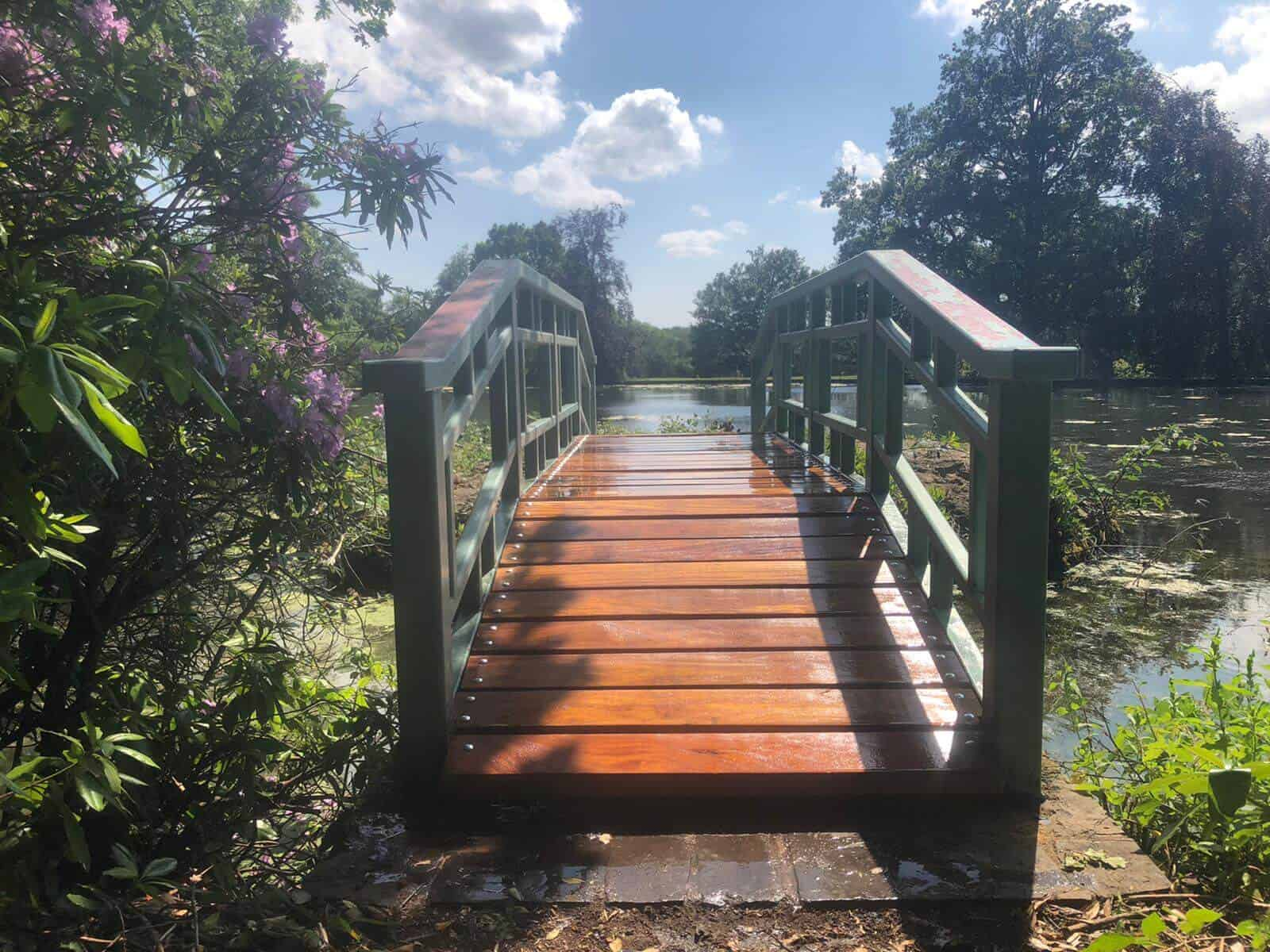 Bridge repaired with wooden decking planks