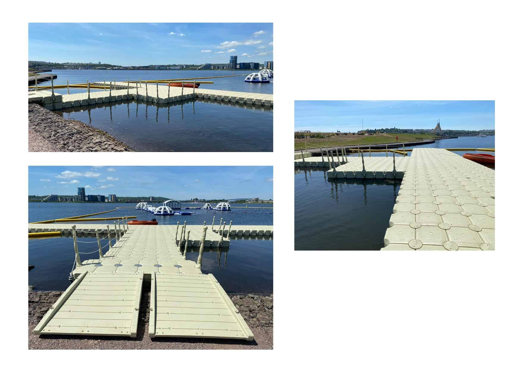 Aquaparks Cardiff Rotodock pontoon with handrails, cleats and gangway