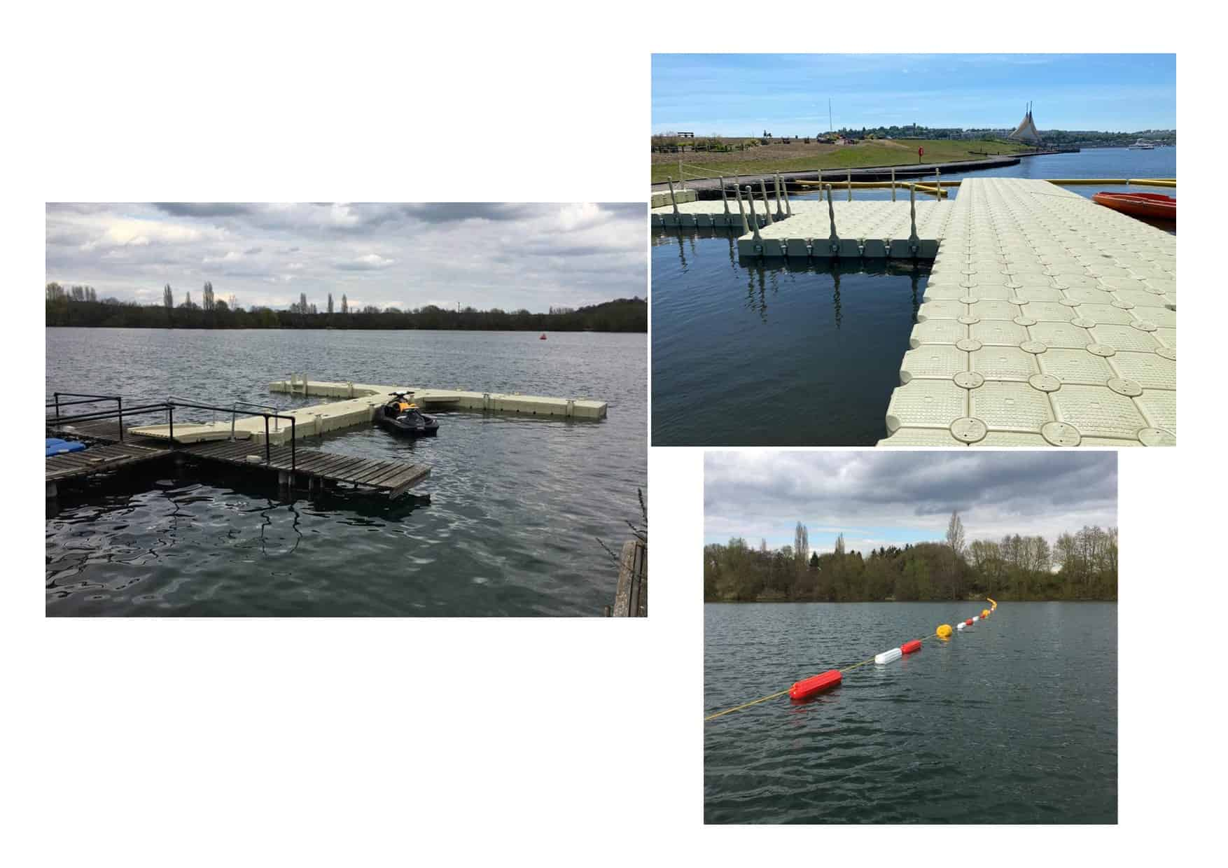 Rotodock hammerhead pontoon and safety barrier Marlow